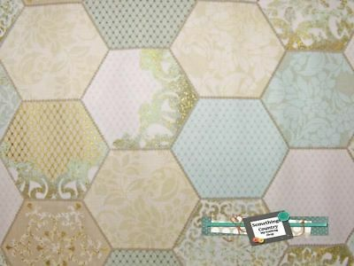 Patchwork Quilting Sewing Fabric HEXAGONS BLUE GREEN GOLD HEXIES Material 50x...