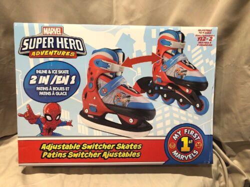 Marvel Super Hero Spiderman Youth Adjustable ROLLER BLADES//ICE SKATE Combo Y12-2