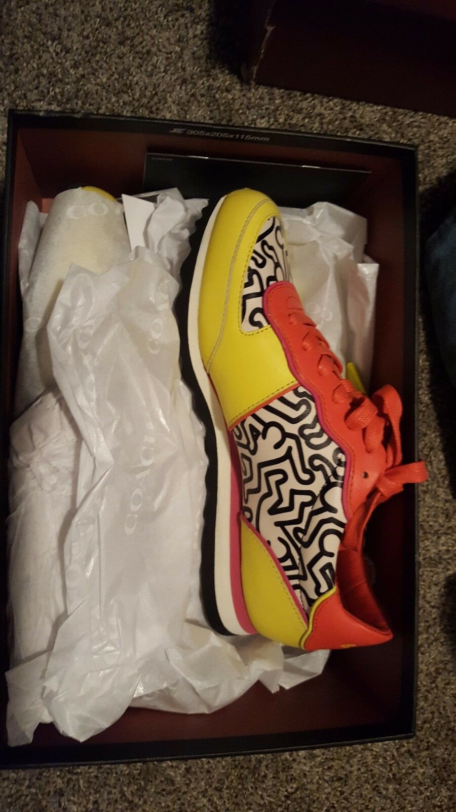 COACH x KEITH HARING Limited Edition Sneakers Yellow Bright Orange 7.5 New