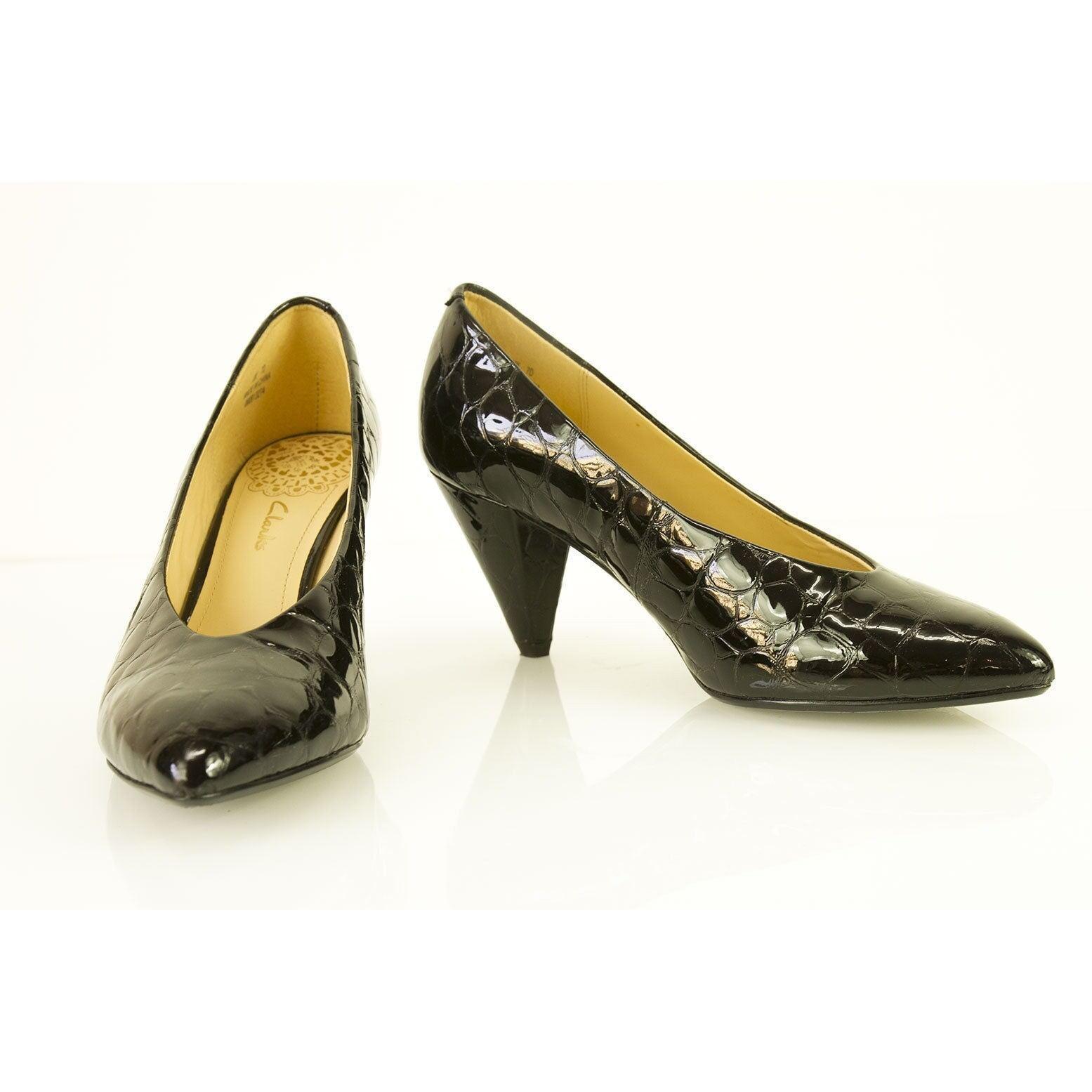 Clarks Negro Cuero Cuero Cuero Croco en relieve de patente en punta Bombas Tacones Zapatos UK 7  mejor servicio