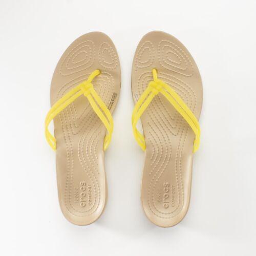 Crocs ISABELLA FLIP Ladies Womens Summer Comfy Sandals Flip Flops Lemon//Gold