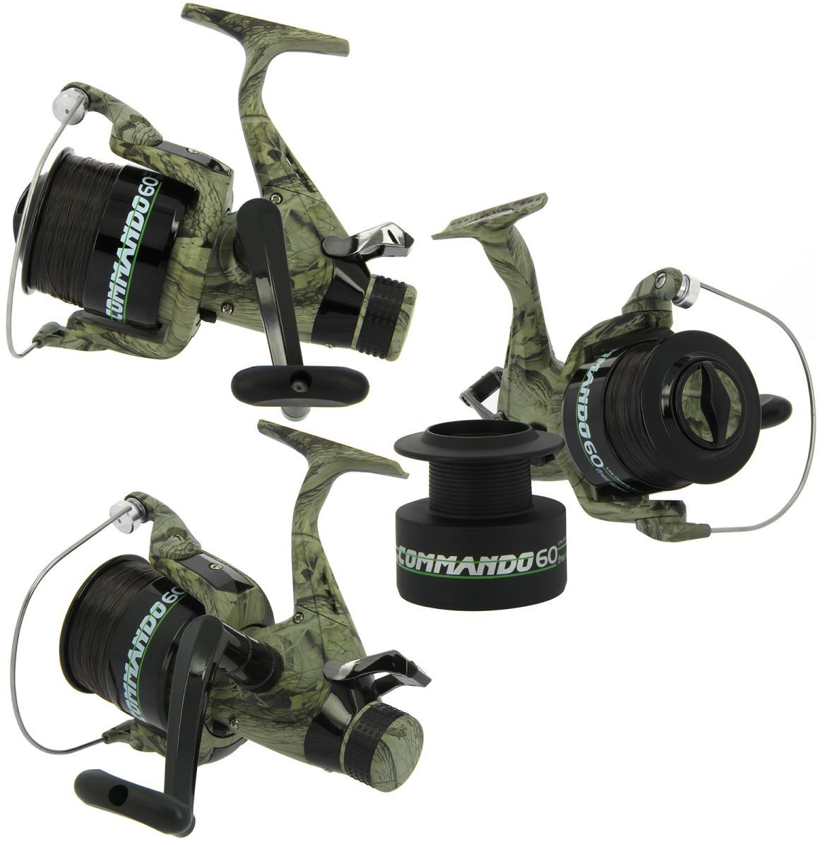 3 x  LINEAEFFE COMMANDO 60 CAMO COLOUR CARP RUNNER FISHING REELS WITH 12LB LINE  hot