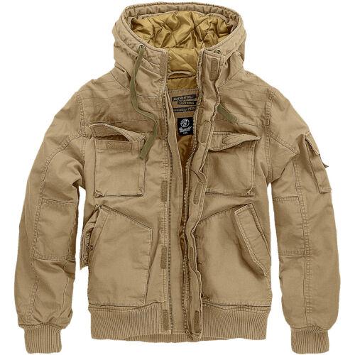 Brandit Bronx Jacket Mens Police Travel Coat Warm Hooded Security Parka Camel