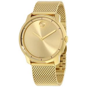 New-BOX-SET-Movado-Bold-Mens-Gold-Dial-Mesh-Bracelet-Swiss-Quartz-Watch-3600373