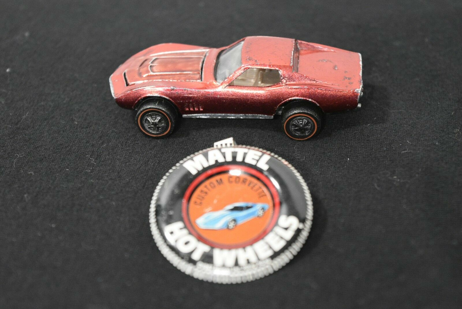 Original 1968 Hot Wheels Redline Custom Corvette in red with Button