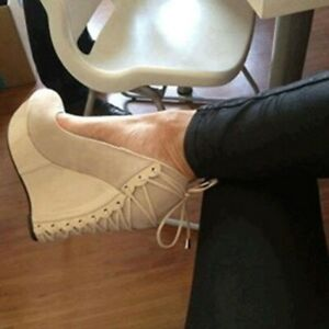 Women-039-s-Wedge-High-Heel-Platform-Shoes-Suede-Slip-On-Casual-Round-Toe-Pump-White
