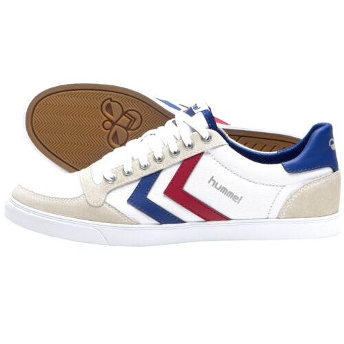 Hummel Slimmer Stadil Low Cut Sneaker Schuhe white blue red 63-512-9228 silver