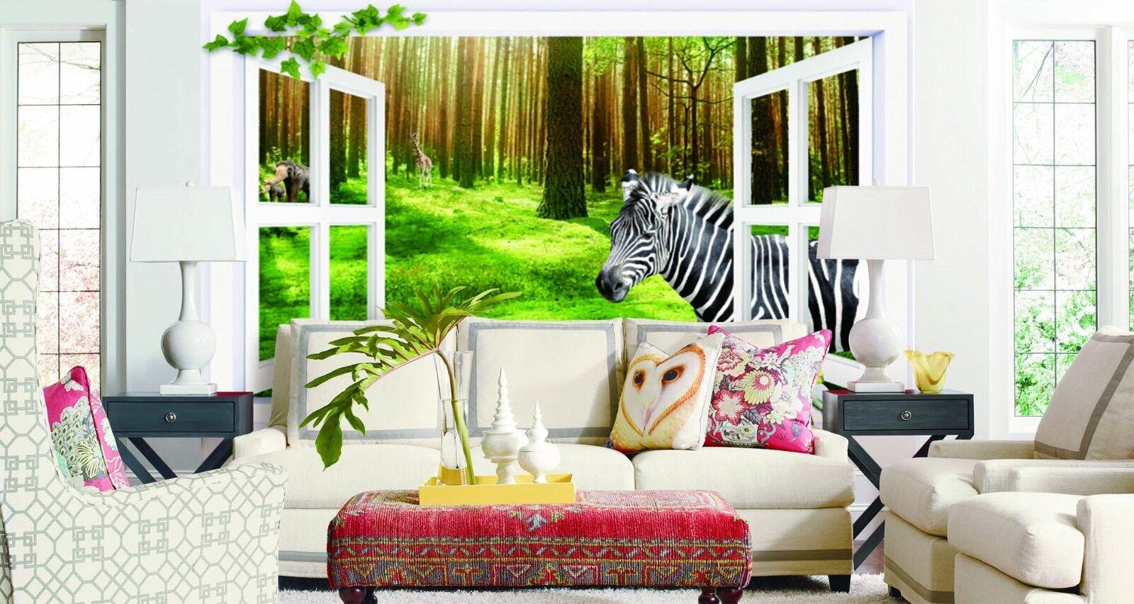 3D Zebra Window 744 Wall Paper Murals Wall Print Wall Wallpaper Mural AU Kyra