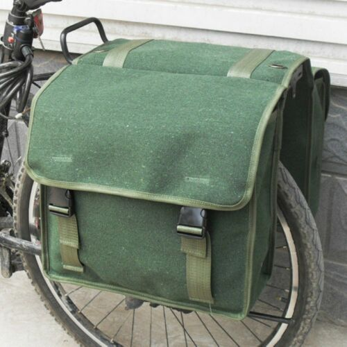 New 1980s Army Double Pannier Bags Green Canvas Bike Rear Seat Travel Retro Bag