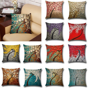Cotton Linen Bolster Throw Pillow Case Sofa Cushion Cover Gift Home Decoration