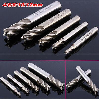 4/4.5/6/8/10/12mm HSS CNC Straight Shank 4 Flute End Mill Cutter Drill Bit Tool