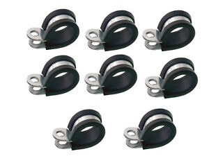 """10 x 5MM RUBBER LINED STEEL P CLIPS HOSE PIPE CLAMPS MOUNTS CABLE PC5 3//16/"""""""