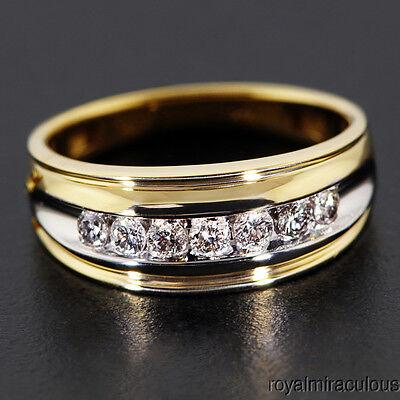 Mens Diamond Ring 14K Yellow Gold Wedding Band