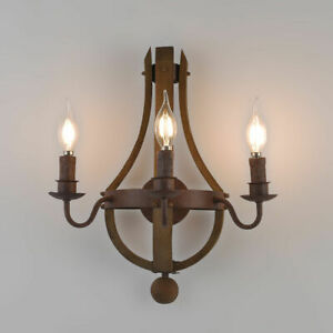 Details About Rustic Wine Barrel Stave Wood Candle Wall Sconce Fixture Indoor Lighting Decor