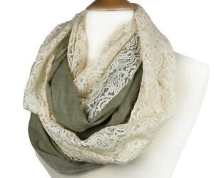 ELEGANT-Taupe-Gray-Linen-Feel-Creme-Brocade-Lace-INFINITY-Wrap-Scarf