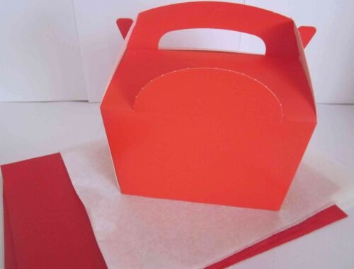 CHRISTMAS XMAS RED FAVOUR PARTY GIFT BOX BOXES WITH 2 TISSUE PAPER
