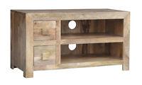 Solid Light Mango Wood Widescreen Tv Lcd Plasma Cabinet Stand Unit