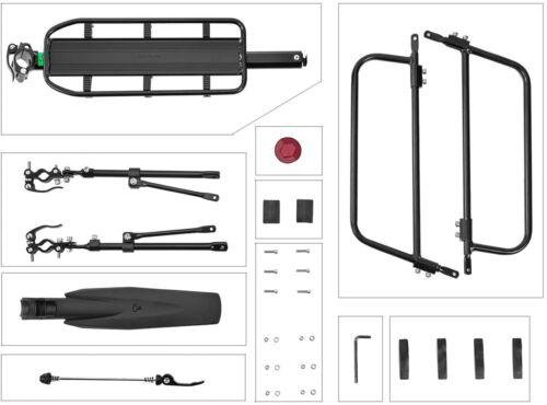 Quick Release Bike Cargo Rack W// Adjustable Clamp Mounting Black 165lbs Capacity