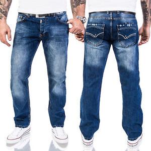 Lorenzo-Loren-Designer-Jeans-Pantalon-Hommes-Jeans-Regular-Fit-Bleu-w29-w44-ll-324