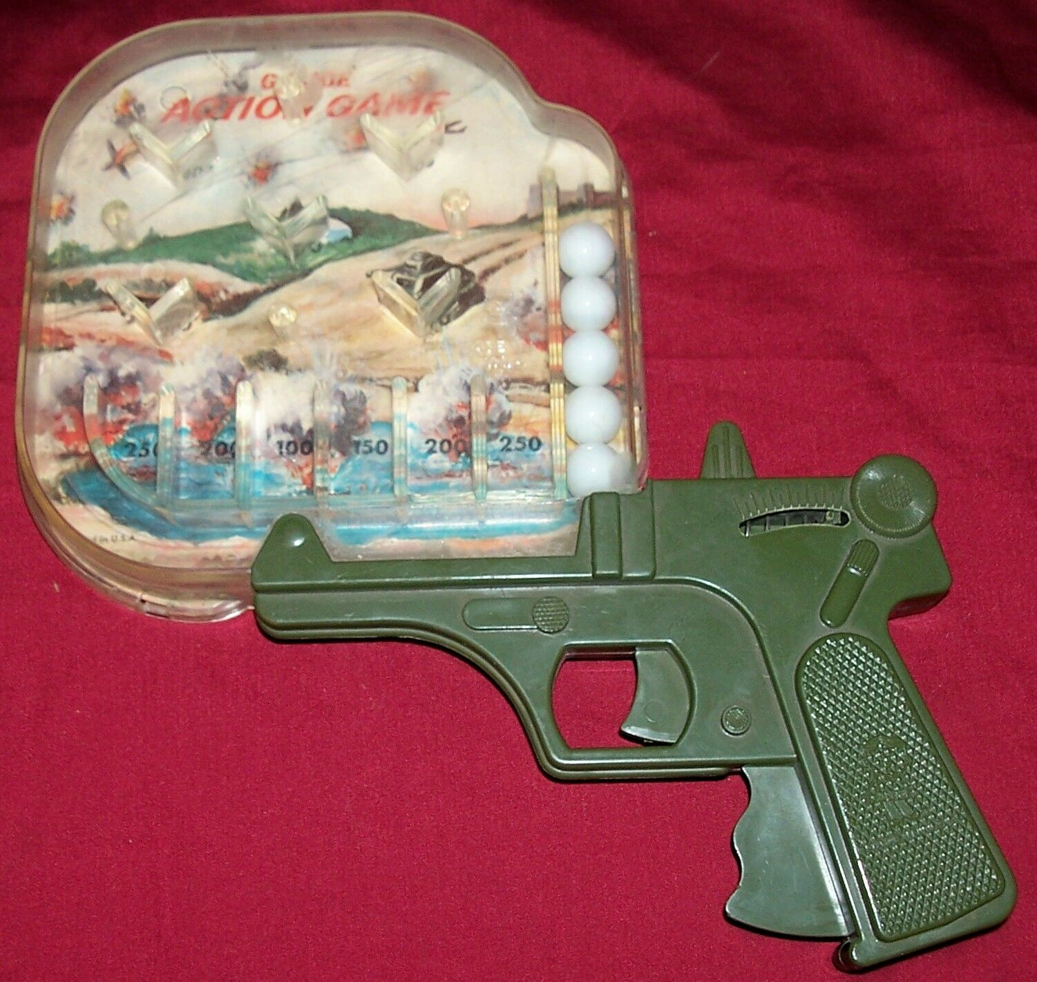 Old GI Joe Action Marble Shooting Game Pistol Gun Vintage Hasbro USA Toy Pinball