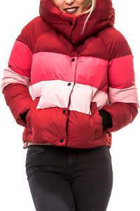 Only Damen Steppjacke mit Kapuze Colorblocking Winterjacke Damenjacke Jacke