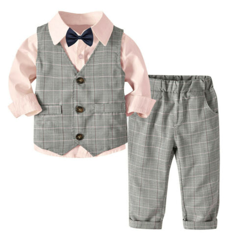 4PCS Toddler Baby Boy Bowtie Gentleman Vest T-Shirt Pants Tie Wedding Suit Sets