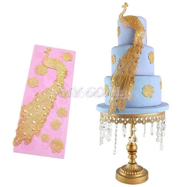 Fondant Silicone Lace Cake Candy Sugarcraft Peacock Pastry Mold Mould Decor