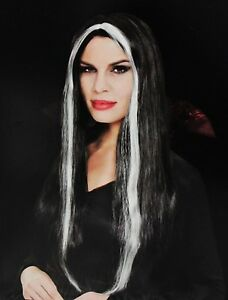 Long Black Hair White Streak Wig Adult Women Straight Vampire