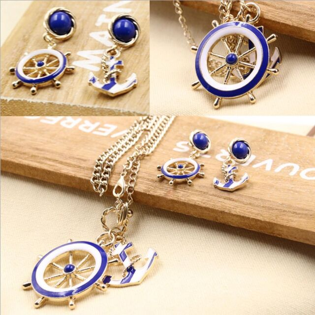 Vintage Alloy Enamel Anchor Rudder Nautical Costume Jewelery Necklace/Earring HG