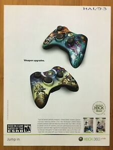 Halo-3-Controllers-Todd-McFarlane-Art-Xbox-360-2007-Vintage-Print-Ad-Poster-Rare