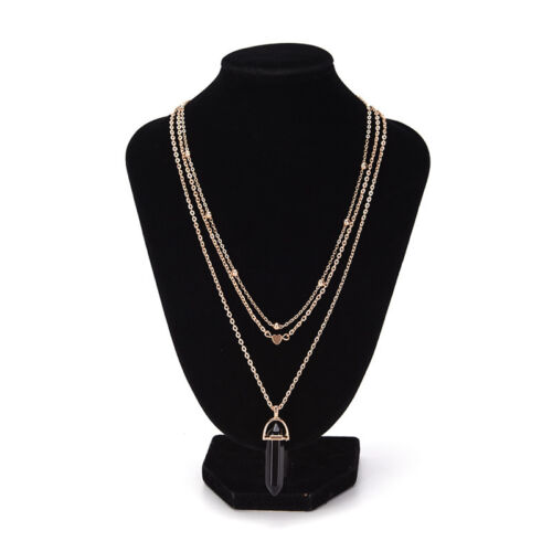 Unique Multi-layer Heart Pendant Necklace Leisure Design Stone Chain Necklace UK