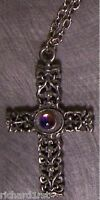 "Fantasy Necklace Filigree Cross & color changing Orb with 18"" chain NEW"