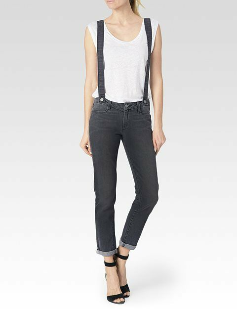 NWT PAIGE Sz28  PHILLIPA BOYFRIEND STRETCH JEANS WITH SUSPENDERS GREY RUDY