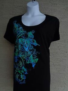 Just-My-Size-1X-Graphic-Scoop-Neck-Tee-Shirt-Black-with-Glitzy-Flowers