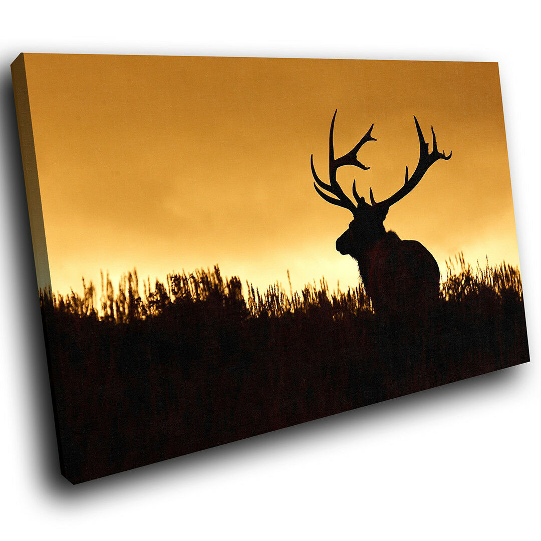 A501 Sunset Silhouette Deer  Funky Animal Canvas Wall Art Large Picture Prints