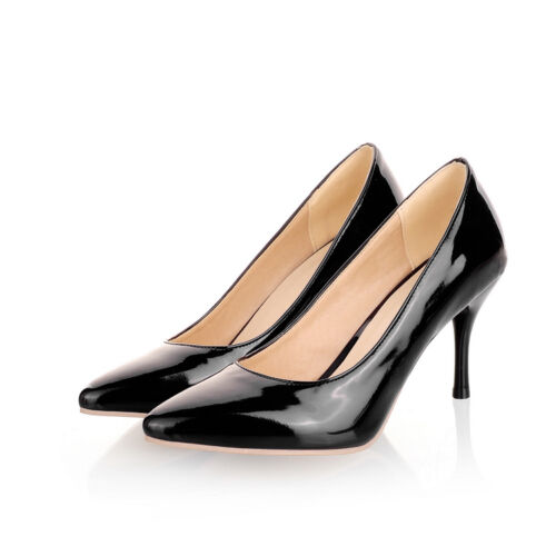 Women/'s High Heels Plus Size Shoes Synthetic Leather Pointed Pumps Classics D043