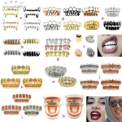 half grillz caps set fangs gold silver rose hip hop teeth luxury dental jewelry