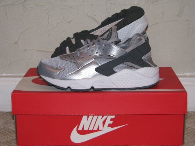 NIKE Women's Air Huarache Run Wolf GreyDark Grey White 634835 014 Shoe