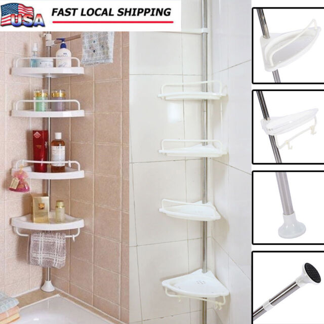 Charmant 4 Shelf Shower Corner Tension Pole Caddy Organizer Bathroom Bath Storage  Rack US