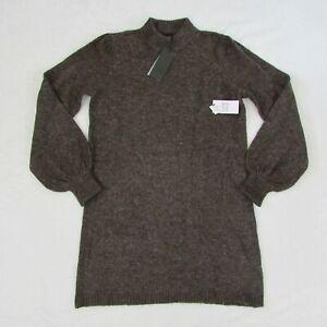 Womens-Volcom-Sweater-Dress-Brown-Knit-Stone-Row-Size-Small-NEW-98
