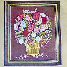 Garden Basket Crewel Embroidery Kit Bucilla 2053 24x28 Floral Flowers Wool Vtg
