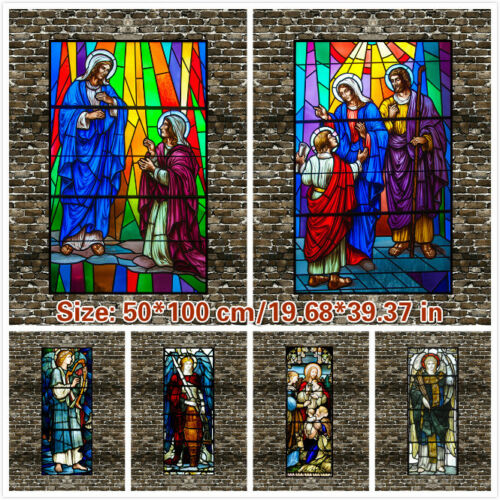 Self-adhesive Window Film Deco Light Filter Church Stained Glass Stickers Opaque