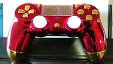 PS4 Dualshock 4 Custom Wireless Controller/Gamepad-Chrome Red/Gold IronMan Theme
