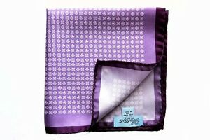 ffd846bc6b Details about Battisti Pocket Square Light purple with white geometric  pattern, pure silk