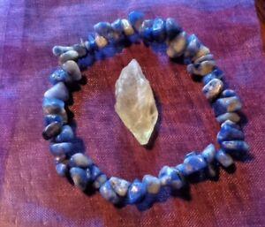 CHARGED  Blue Sodalite Crystal Chip Stretchy Bracelet and Citrine Crystal REIKI