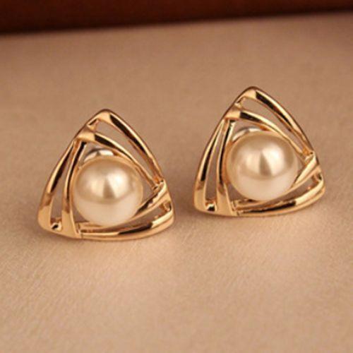 Fashion Pearl Women Stud Elegant triangle Gold Plated White Freshwater Earrings