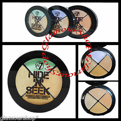 W7 Hide N Seek Correcting Cream Concealer Quad Foundation Camouflage Cover Up