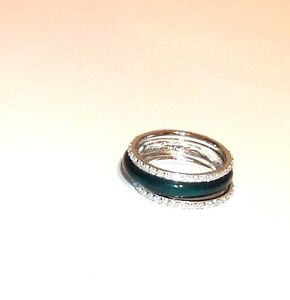 Sterling-Silver-3-Piece-Enamel-Emerald-Green-Ring-Set-Size-8-or-9