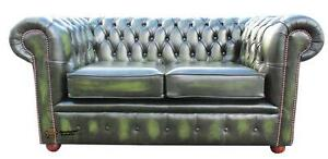 Brand-New-Chesterfield-2-Seater-Sofa-Settee-Antique-Green-Real-Leather-Couch