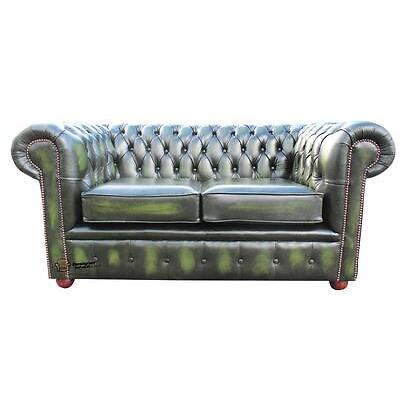 Brand New Chesterfield 2 Seater Sofa Settee Antique Green Real Leather Couch